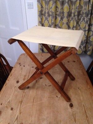 Vintage Folding Stool / Canvas Seat - Teak? - 45x45x39cm
