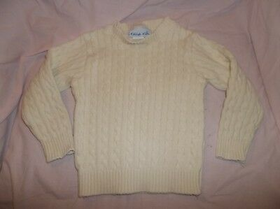 Kelly's Kids sweater size XS--GUC--ivory, cable knit, pull over--100% cotton, L/