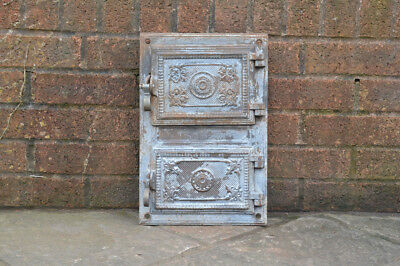 39 x 26 cm old cast iron fire / bread oven door/doors /flue/clay/range pizza