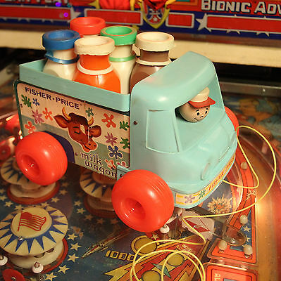 FREE SHIP!! Vintage Fisher Price Milk Wagon Wood Pull Along Truck #131