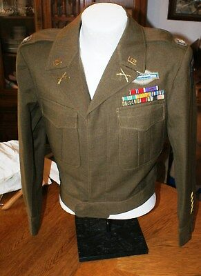 WW 2 US Army Infantry Ike Jacket, Bullion CIB, Patches and rank Insignia, Named