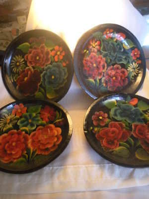 """Collection Vtg Mexican Batea, Lot 4 Floral Tole Painting On Wood 10.5"""""""