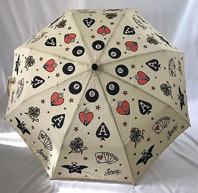 Rare SAILOR JERRY Tattoo Flash Umbrella 38""