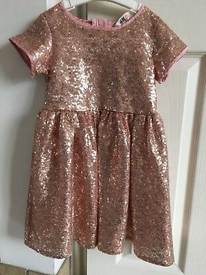 Beautiful Pink H&M Girls Sequin Party Dress Age 4-5