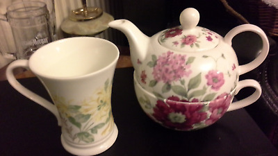Laura Ashley Set For One - Pink Floral Teapot / Cup -Yellow Floral Mug- Both Vgc