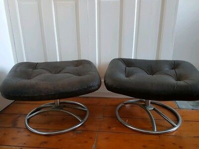 Vintage Retro Footstool. Pair of  Brown leather and chrome padded footstools