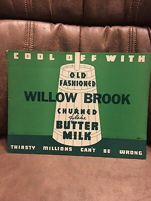 ORIGINAL 1930-40's Borden's Willow Brook Buttermilk in store sign