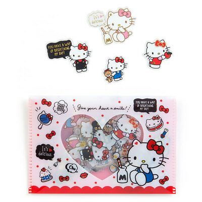 Hello Kitty Sanrio Card Case & seal ('90s) Kawaii Japan New Free Shipping