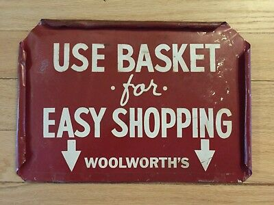Woolworth's Drug store Metal 2 sided sign 5 &10 Pharmacy Soda Fountain Shopping