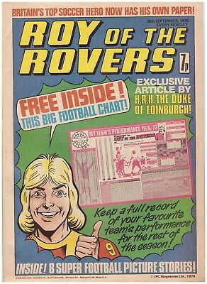 ROY OF THE ROVERS COMIC 25 th Sept 1976- Includes free chart