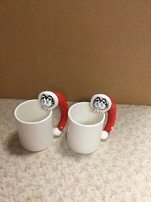 Vintage B. Kliban Cat Head Face in Santa Hats 2 Mugs Sigma Tastesetter Ceramic