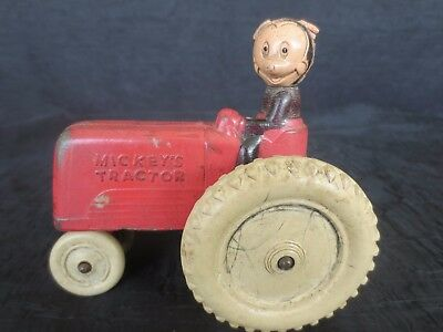 Antique 1940's Mickey's Tractor Rubbery Toy, Original Paint, Sun Rubber