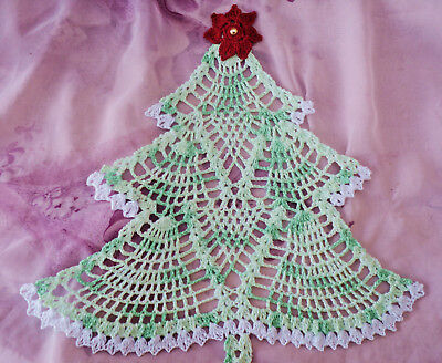 New Crochet Light Green/White Varigated Christmas Tree Doily Placemat