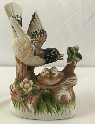 Figurine of Mother Robin Bird and Baby Birds in Nest on Branch Grass and Flower