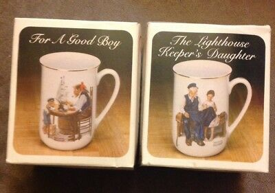 Vintage 1982 NORMAN ROCKWELL Coffee Cups Mugs Set Of 2 Museum Collection 1986