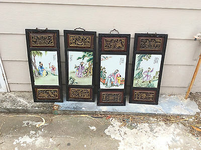 4 Vintage Chinese Handpainted Tiles And Frames.wood Carved.very Old