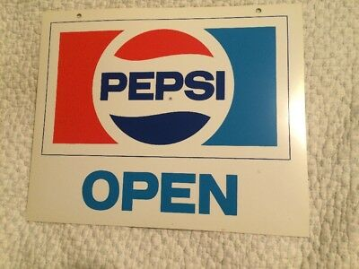 "Vintage Pepsi Red White & Blue ""Open"" & ""Close"" Double Sided Sign"