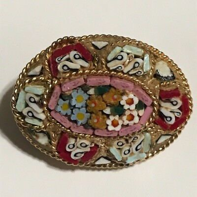 Micro Mosaic Brooch Stunning Antique Estate Signed Italy  Flower Pin One Inch