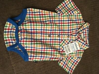 JoJo Maman Bebe Baby Boy Check Shirt Body 6-12 Months , New With Tags