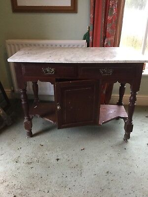 Original. Possibly Edwardian. Side Table With Cupboard, Drawers And Marble Top