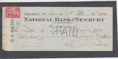 National Bank of Newberry Check,  Wells River, Vermont  1901  Revenue Stamp