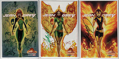 Jean Grey #1 J Scott Campbell Cover A B C NM/NM+ Signed w/COA 2017 Lot of 3