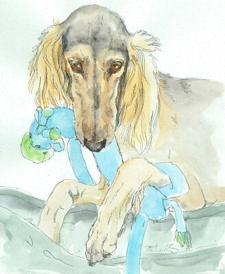 SALUKI w GIRAFFE Original Watercolor on Ink Print Matted 11x14 Ready to Frame