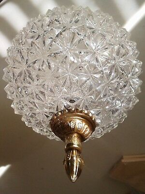Vintage Cut Clear Glass Faceted Ornate Flush Mount MCM Ceiling Light Shade Cover