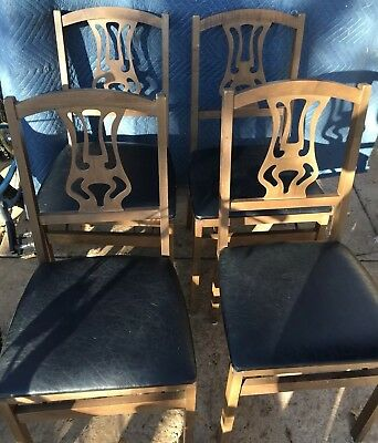 4 Vintage Stakmore Cane Back Folding Chairs Mid Century Wicker