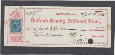 Rutland County National Bank Check,  Vermont  1881  Revenue Stamp