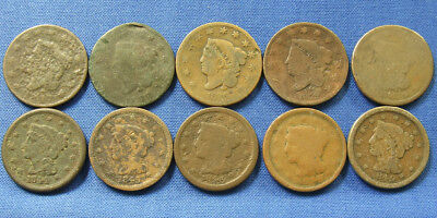 Lot of 10 U.S. Large Cent Copper Pennies Different Dates 1817 to 1849 SHIPS FREE