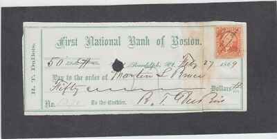 First National Bank of Boston Check, Randolph, Vermont 1869  Signed R.T. DuBois