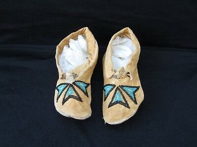 Native American Indian Beaded Moccasins, Blue & Black Beads