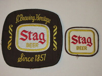 Vintage Set Of 2 Stag Beer Patches 1 Extra Lg / 1 Small Unused  Nos