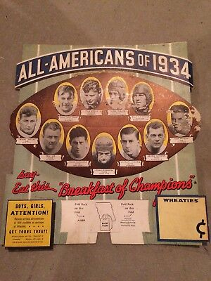 1934 College Football All-Americans Wheaties Advertising Display Sign HOFers!