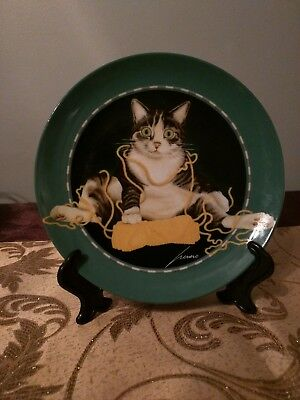 "Lowell Herrero Japan Vandor 8"" Luncheon Plate Tabby Cat with Yarn 1992"