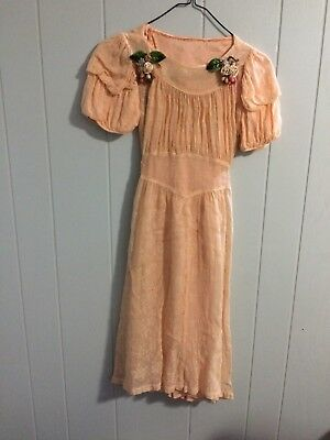 vintage peach dress with flowers and slip small woman or teen antique