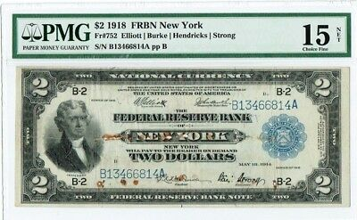 "$2 1918 ""Large Size"" FRBN ""New York"" PMG 15 NET ""rust damage"""