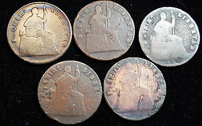 Mexico 1860 Lot of 5 Quarto 1/4 Real Copper Coins Great Lot KM 344