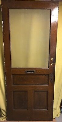 Unique Antique Victorian Wood Exterior French Door /w Screen Frosted Glass 34x82