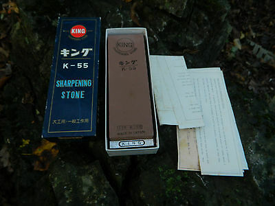 Knife Sharpening Stone KING K 55 Wood Base New In Box Japan Whet Stone Sharpener