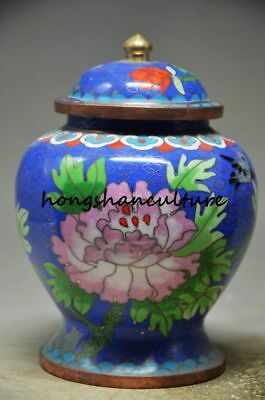 EXQUISITE CHINESE COPPER CLOISONNE HANDMADE JAR -- FLOWER zp