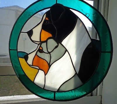Stained Glass Dog - Australian Shepherd -2 Heads - 12 In. Circle