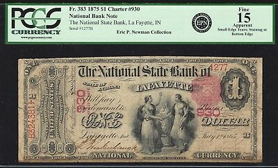 1875 $1 Early State Bank of Lafayette, Indiana PCGS graded Historic signatures!