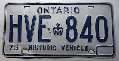 "Authentic 1973 Ontario License Plate Canada ""Historic vehicle"""