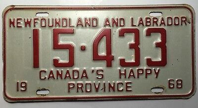 Authentic 1968 Newfoundland And Labrador License Plate Canada's Happy Province