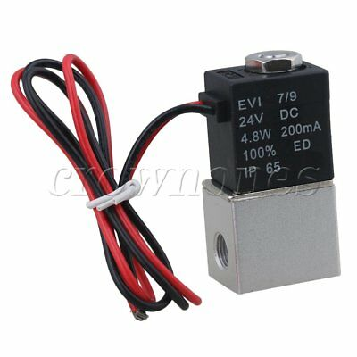 DC24V NC Pneumatic Aluminium Alloy Solenoid Air Water Valve 2-Way G1/8""