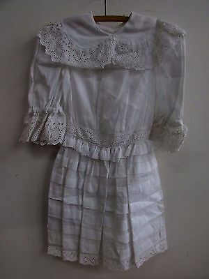 Antique Vintage Girls Cotton And Lace Edwardian Dress