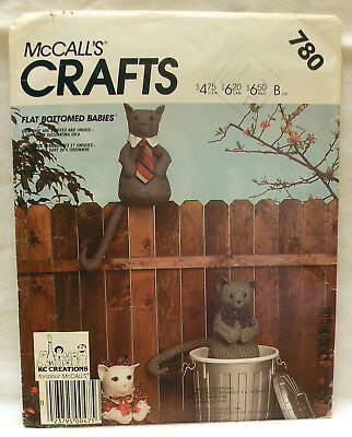 Vintage 1980s McCall's 780 Flat Bottom Stuffed Cat Toy & Clothes  Pattern Unused