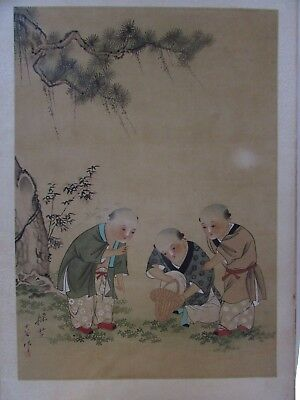 Antique Japanese Silk Painting Artist Signed Stamped